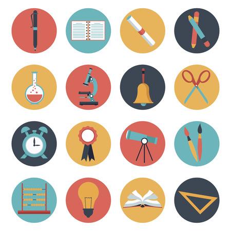 compas de dibujo: fondo blanco con el conjunto de coloridos marco circular elementos de la escuela ilustración vectorial