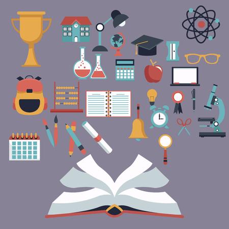compas de dibujo: Fondo de color con el libro abierto y establecer elementos escolares ilustración vectorial