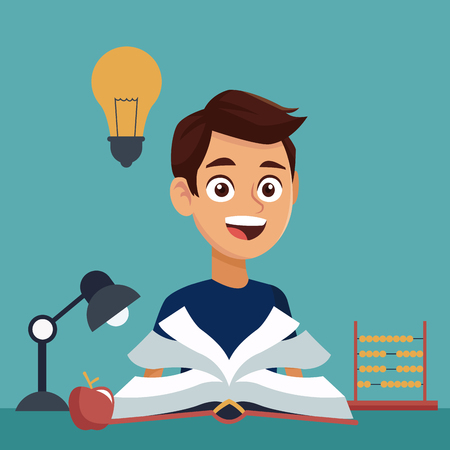 color background with boy student with book in learning with elements school vector illustration Illustration