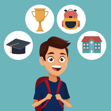 color background with student with bag and icons school elements vector illustration