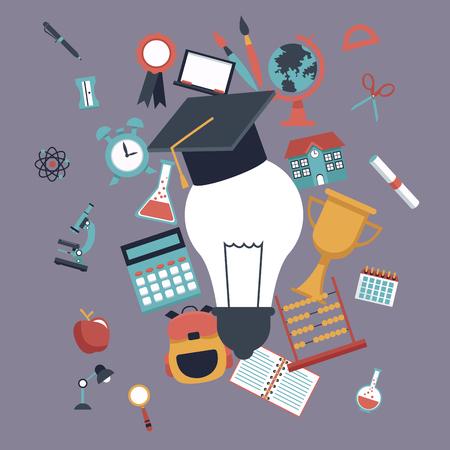compas de dibujo: fondo de color con bombilla con graduación tapa y establecer elementos de la escuela iconos ilustración vectorial