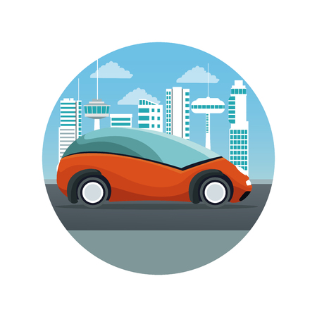 white background with circular frame futuristic city landscape silhouette with colorful orange car vehicle vector illustration