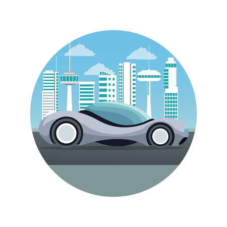 white background with circular frame futuristic city landscape silhouette with colorful sport gray modern car vector illustration Illustration