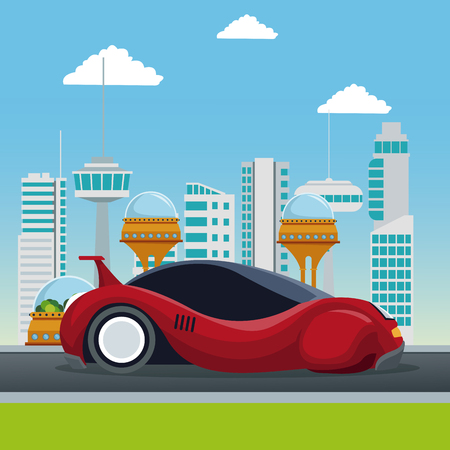 colorful scene futuristic city metropolis with sport red modern car vector illustration Illustration