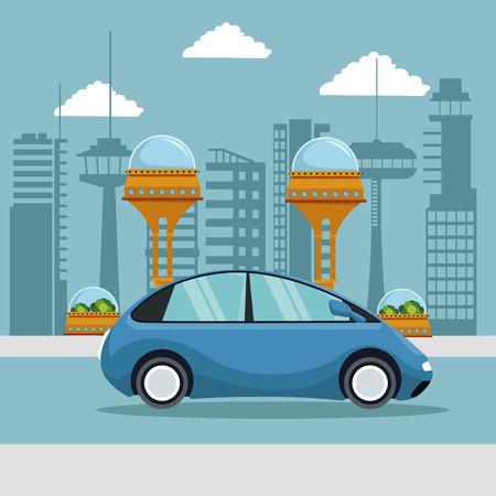 escena colorida ciudad futurista metrópoli con ilustración de vector de coche azul pequeño vehículo