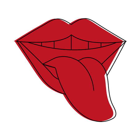 smiling mouth with tongue out icon image vector illustration design  red color