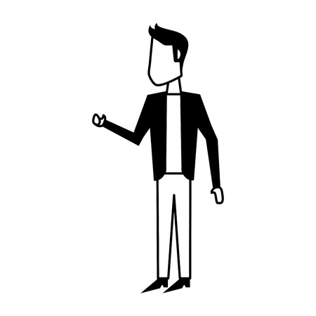 man talking and moving arms avatar icon image vector illustration design  black and white