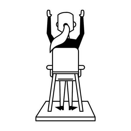 business woman sitting down with arms up rearview avatar icon image vector illustration design  black and white Ilustração