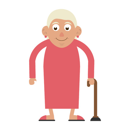 cute happy elderly woman with cane icon image vector illustration design
