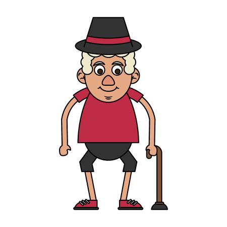 cute happy elderly man with cane icon image vector illustration design