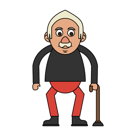 cute happy elderly man with cane icon image vector illustration design