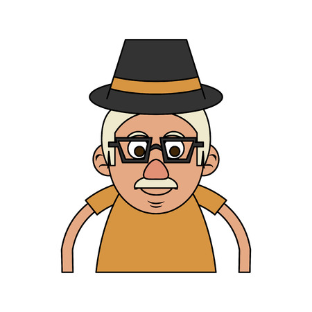 cute happy elderly man wearing hat icon image vector illustration design Illustration