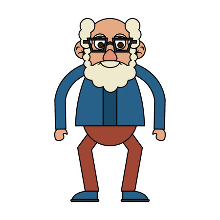 cute happy elderly man wearing glasses icon image vector illustration design
