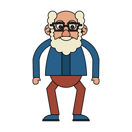 cute happy elderly man wearing glasses icon image vector illustration design