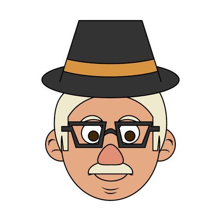 cute happy elderly man wearing hat icon image vector illustration design Illustration