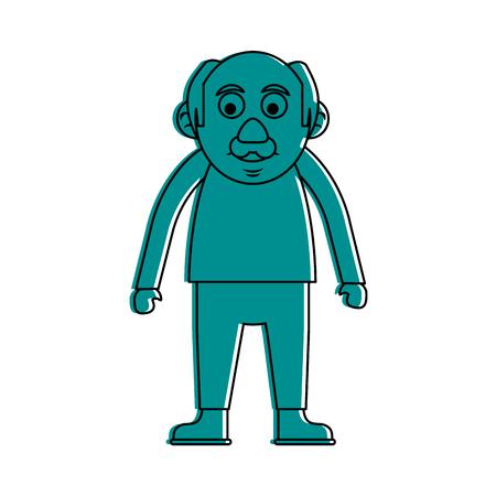 cute happy elderly man icon image vector illustration design blue color Illustration