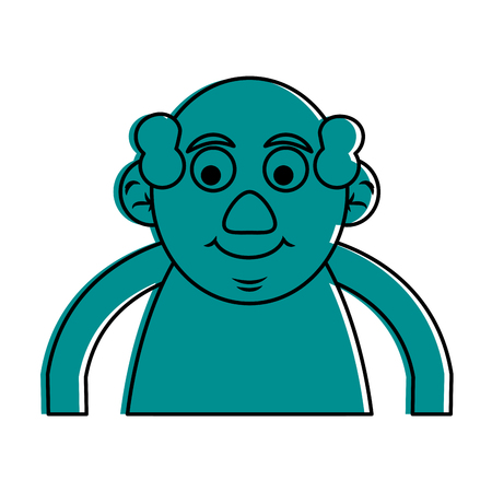 cute happy elderly man icon image vector illustration design  blue color