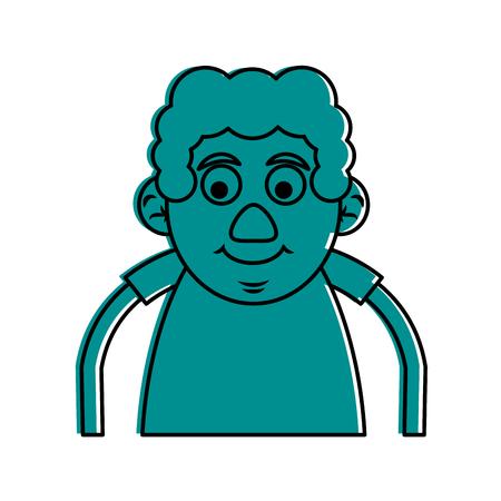 cute happy elderly man icon image vector illustration design  blue color