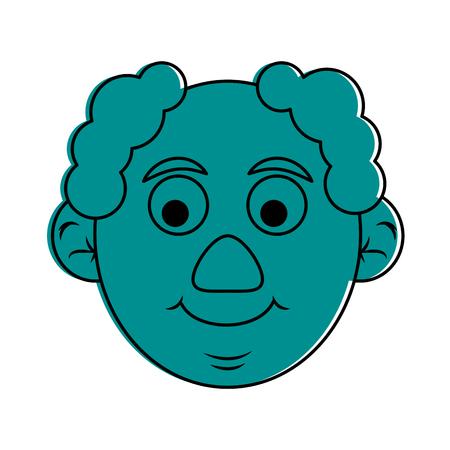 face of cute happy elderly man icon image vector illustration design  blue color