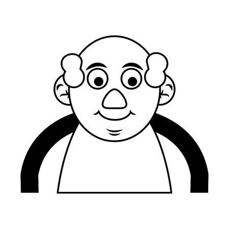 cute happy elderly man icon image vector illustration design  black and black and white
