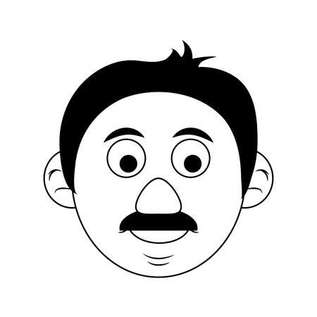 face of cute happy elderly man icon image vector illustration design  black and black and white
