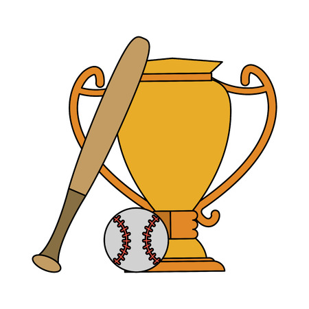 baseball bat ball and trophy sports related icon image vector illustration design Illustration