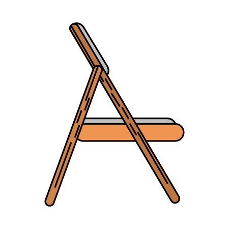 wooden folding chair icon image vector illustration design