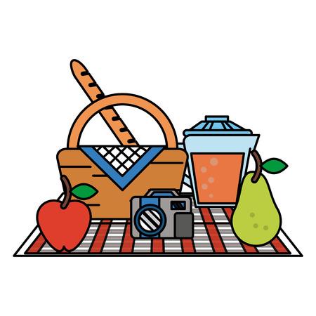 food set on blanket picnic related icon image vector illustration design Illustration