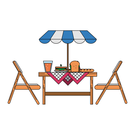 outdoor table with parasol icon image vector illustration design