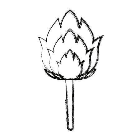 torch with a burning fire hot flame vector illustration Illustration