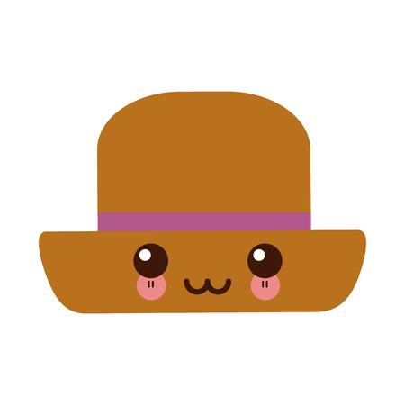 kawaii hat male head old fashion clothes elegant vector illustration