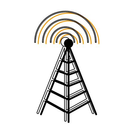 cell tower: tower antenna mast sign communication transmitter vector illustration
