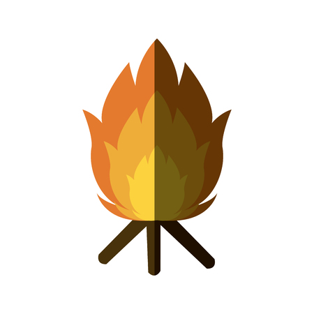 ablaze: featuring a camp fire burning brightly design vector illustration