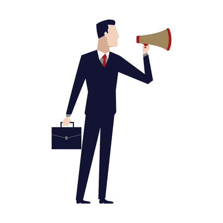 businessman talking into megaphone make an announcement vector illustration