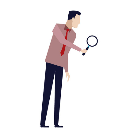 businessman in formal suit looking through a magnifying glass business concept vector illustration