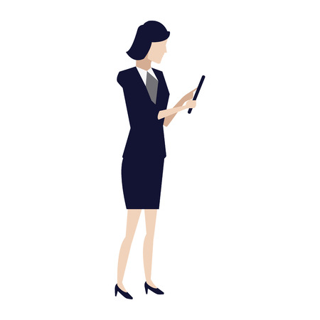 businesswoman holding tablet pc device work vector illustration