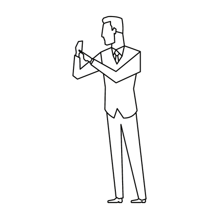 businessman successful gesturing pointing something vector illustration