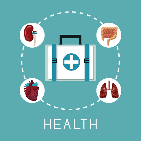 color background with first aid box in center with organs human system around text health vector illustration
