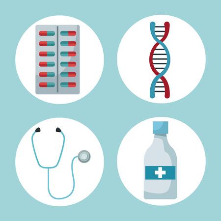 color background with circular frames of medicaments and health elements vector illustration Banco de Imagens - 83376106