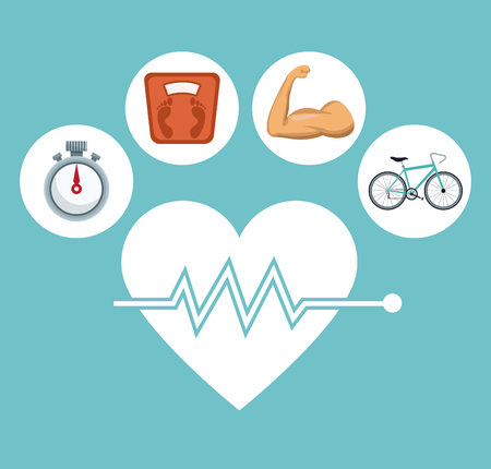 systole: color background with silhouette heart beat with icons circular frame healthy lifestiyle vector illustration Illustration