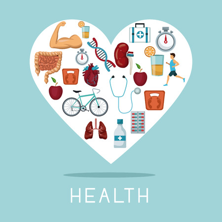 color background with heart shape frame with icons of health elements vector illustration