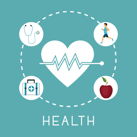 systole: color background with silhouette heartbeat with icons in circular frame of healthy elements around vector illustration