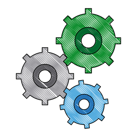 Gears symbol concept of motion and mechanics connection and operation vector illustration
