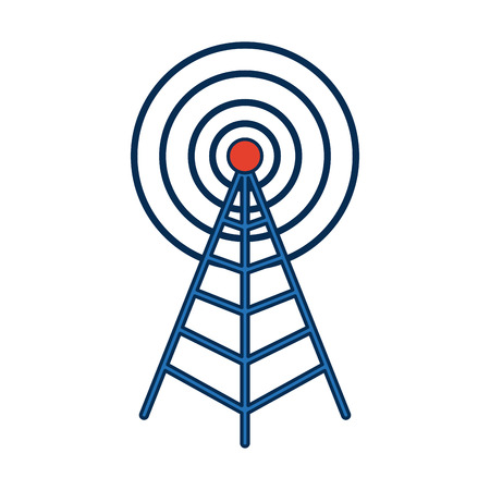 Antenna mast sign tower, communication transmitter vector illustration Illustration