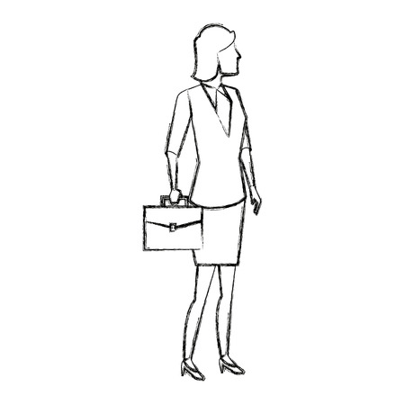full figure: business woman hold briefcase standing full length vector illustration