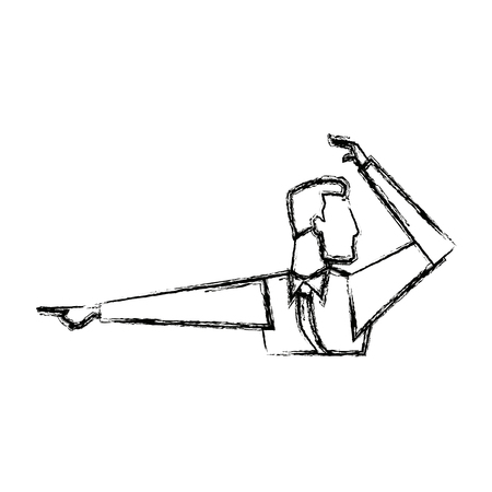 portrait of businessman gesturing shows something vector illustration