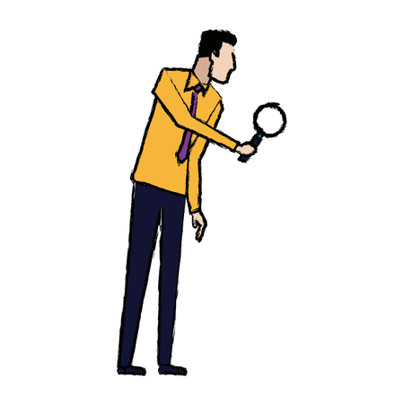 businessman in formal suit looking through a magnifying glass business vector illustration