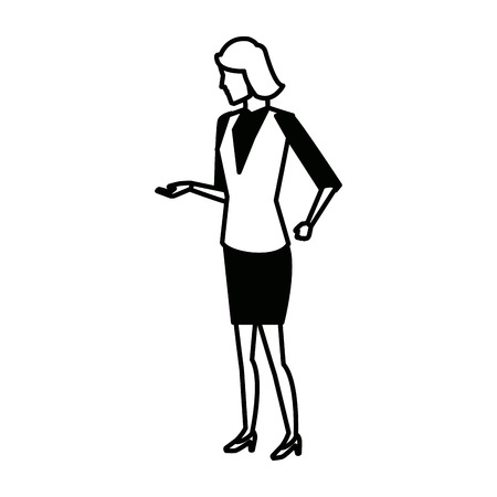 businesswoman full length gesturing with her hands vector illustration