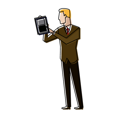 businessman holding a clipboard and analysing the data financial Çizim