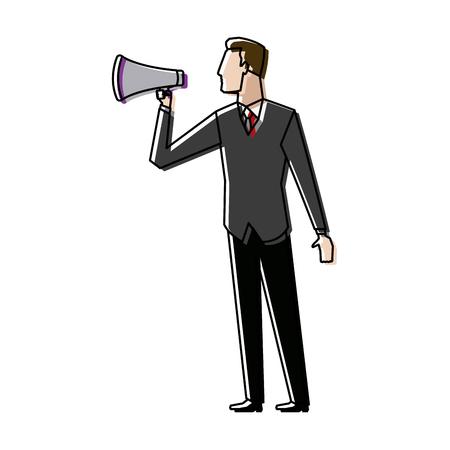 businessman talking into megaphone make an announcement vector illustration